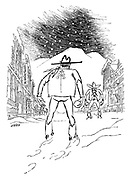 (Two cowboys about to have a snowball fight)