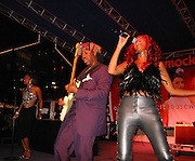 The CHIC Band (Nile Rodgers, Sylver Logan Sharp & Audra Lomax).Smock Magazine Launch Party.South Street Seaport.New York, NY.June 26, 2001.Photo By CelebrityVibe.com..