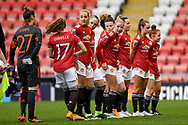 Manchester United Women midfielder Jackie Groenen (14) and Manchester United Women team mates line up during the FA Women's Super League match between Manchester United Women and BIrmingham City Women at Leigh Sports Village, Leigh, United Kingdom on 24 January 2021.