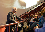 Garden City, New York, U.S. November 21, 2013. NASA Astronaut RUSTY SCHWEICKART, 1969 Apollo 9 Lunar Module LM Pilot, listens to a question by young boy in audience during the Legends of Air and Space lecture at Cradle of Aviation Museum on Long Island. Schweickart, a co-founder of the Association of Space Explorers and of B612 Foundation, discussed the importance of defending Earth from asteroid impacts.
