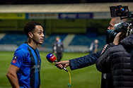 Gillingham FC midfielder Elliott List (15) goal scorer (1-0) being interviewed after the match by Sky Sports during the The FA Cup 3rd round match between Gillingham and Cardiff City at the MEMS Priestfield Stadium, Gillingham, England on 5 January 2019. Photo by Martin Cole.