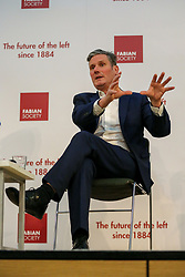 © Licensed to London News Pictures. 18/01/2020. London, UK. Labour Party leadership contender SIR KEIR STARMER in conversation with AYESHA HAZARIKA at the Fabian Society conference at Friends House in central London.  Photo credit: Dinendra Haria/LNP