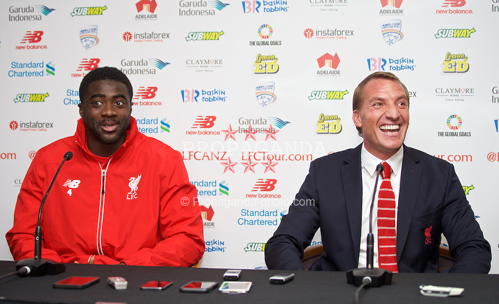 ADELAIDE, AUSTRALIA - Sunday, July 19, 2015: Liverpool's Kolo Toure and manager Brendan Rodgers during a press conference at Coopers Stadium ahead of a preseason friendly match against Adelaide United on day seven of the club's preseason tour. (Pic by David Rawcliffe/Propaganda)