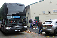 Gillingham supporters wait for the players to leave the coach during the EFL Sky Bet League 1 match between Rochdale and Gillingham at Spotland, Rochdale, England on 23 September 2017. Photo by Daniel Youngs.