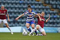 Football - 2018 / 2019 SSE Women's FA Cup - Semi Final: Reading FC Women vs. West Ham United Women<br /> <br /> Gilly Flaherty of West Ham gets a tackle in on Reading's  Lauren Bruton during the SSE Womens FA Cup semi final at Adams Park <br /> <br /> COLORSPORT/SHAUN BOGGUST