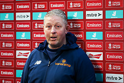 Darlington manager Alun Armstrong speaks to the press after Bristol Rovers win 6-0 - Rogan/JMP - 30/11/2020 - FOOTBALL - Memorial Stadium - Bristol, England - Bristol Rovers v Darlington - FA Cup Second Round Proper.