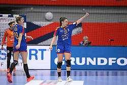 KOLDING, DENMARK - DECEMBER 5: Laura Popa (L) and  Lorena Ostase (R) during the EHF Euro 2020 Group D match between Poland and Romania in Sydbank Arena, Kolding, Denmark on December 5, 2020. Photo Credit: Allan Jensen/EVENTMEDIA.