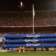 A panoramic image showing a failed pole vaulter at Sydney Olympic Stadium during the pole vault competition at the 2000 Sydney Olympic Games...Panoramic images from the Sydney Olympic Games, Sydney, Australia.  2000 . Photo Tim Clayton