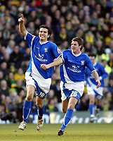 Photo: Chris Ratcliffe.<br />Norwich City v Ipswich Town. Coca Cola Championship. 05/02/2006.<br />Jimmy Juan of Ipswich celebrates after scoring from a free kick and is chased by Scott Barron.