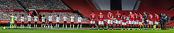 MANCHESTER, ENGLAND - Sunday, November 1, 2020: Manchester United and Arsenal players stand to pay tribute to former Manchester United player and England World Cup Winner Nobby Stiles who died on Friday before the FA Premier League match between Manchester United FC and Arsenal FC at Old Trafford. The game was played behind closed doors due to the UK government's social distancing laws during the Coronavirus COVID-19 Pandemic. Arsenal won 1-0. (Pic by David Rawcliffe/Propaganda)