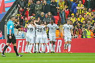 GOAL 0-1. Wolverhampton Wanderers defender Matt Doherty (2) celebrates with teammates after scoring a goal during the The FA Cup semi-final match between Watford and Wolverhampton Wanderers at Wembley Stadium, London, England on 7 April 2019.