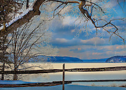 Quabbin Reservoir in Massachusetts in the Snow.  Winter and the holidays in New England are a beautiful time of the year.