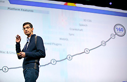 Sundar Pichai, senior vice president of Chrome at Google Inc., speaks during a keynote address at the Google I/O  developer's conference in San Francisco, California. Google announced their new Chromebook line of laptops.