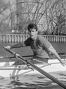 London. United Kingdom.  1987 Pre Fixture, Varsity Boat Race. National Squad vs Cambridge University BC on the Championship Course Mortlake to Putney. River Thames.  Saturday 21.03.1987<br /> <br /> [Mandatory Credit: Peter SPURRIER/Intersport images]<br /> <br /> National Squad, John GARRETT. 19870321 Pre Boat Race fixture, National Squard vs Cambridge UBC, London UK
