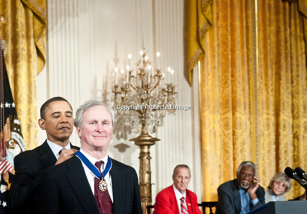 President Barack Obama awards the Medal of Freedom to  Former President John H. Adams during a ceremony in the East Room of the White House in Washington DC on February 15, 2011. Photo by Kris Connor