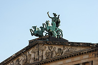 Berlin, Germany. The Gendarmenmarkt is a large and famous square in Berlin. The Konzerthaus Berlin is a concert hall, rebuilt and reopened in 1984.