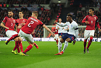 Football - 2018 / 2019 UEFA European Championships Qualifier - Group A: England vs. Czech Republic<br /> <br /> Callum Hudson - Odoi making his England debut, shoots at goal with the ball being deflected into the net for an own goal (England's 5th) at Wembley Stadium.<br /> <br /> COLORSPORT/ANDREW COWIE