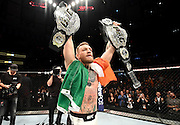 NEW YORK, NY - NOVEMBER 12:  Conor McGregor of Ireland celebrates his KO victory over Eddie Alvarez of the United States in their lightweight championship bout during the UFC 205 event at Madison Square Garden on November 12, 2016 in New York City.  (Photo by Jeff Bottari/Zuffa LLC/Zuffa LLC via Getty Images)