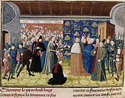 Froissart Chronicles (c.1333-c.1404). Richard II (1367-1400) King of England from 1377, surrendering the crown and sceptre to Lord Derby, 29 December 1399. Richard died, probably murdered, in Pontefract Castle early in 1400. Manuscript, British. Museum, London