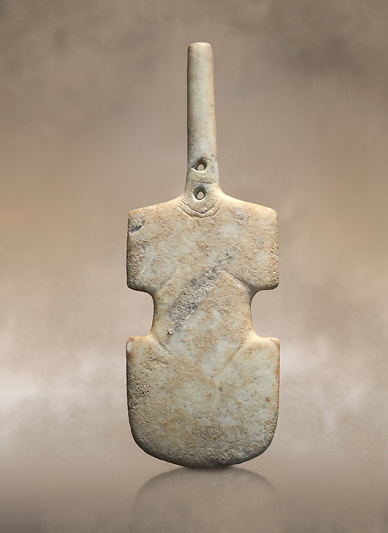 Cycladic violin shaped figurine. Early Cycladic Period I (Grotta-Pelos Phase 3200-2800). National Archaeological Museum, Athens. <br /> <br /> This Cycladic violin shaped figurine has two holes in its neck which were provavly used to hold its broken neck together with wire or cord. .<br /> <br /> If you prefer to buy from our ALAMY PHOTO LIBRARY  Collection visit : https://www.alamy.com/portfolio/paul-williams-funkystock/cycladic-art-artefacts.html Type into the LOWER SEARCH WITHIN GALLERY box to refine search by adding background colour, place, museum etc<br /> <br /> Visit our CYCLADIC CIVILISATIONS PHOTO COLLECTIONS for more photos to download or buy as wall art prints https://funkystock.photoshelter.com/gallery-collection/Cycladic-civilisation-Ancient-Greek-Artefacts-art-Photos-Pictures-Images/C0000CmevVvnC.XU