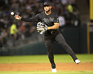 CHICAGO - AUGUST 23:  Yoan Moncada #10 of the Chicago White Sox fields against the Texas Rangers during Players Weekend on August 23, 2019 at Guaranteed Rate Field in Chicago, Illinois.  (Photo by Ron Vesely)  Subject:   Yoan Moncada