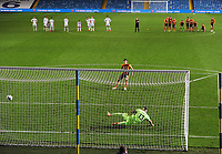 Football - 2020 / 2021 EFL Cup - Round Two - Leeds United vs Hull City<br /> <br /> Alfie Jones of Hull scores the winning penalty in the shoot out  at Elland Road<br /> <br /> COLORSPORT/ANDREW COWIE
