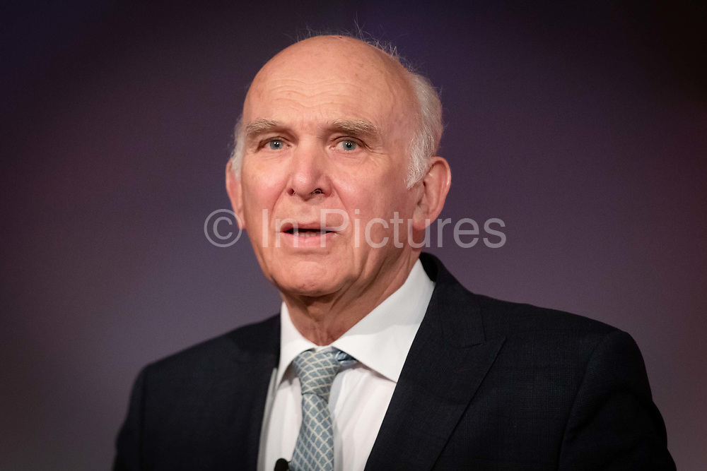 Liberal Democrat Leader Vince Cable makes a speech at the Liberal Democrat party European election campaign launch held at Tobacco Dock, in London, England on April 26, 2019. Liberal Democrat party leader, Vince Cable announced Member of European Parliament MEP candidates for the upcoming European Parliament elections that will take place from 23rd to 26th May 2019.