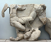 Death of Thersandros, the son of Polynices and Argeia was, in Greek mythology, king of Thebes. Pergamum Altar in the Pergamum Museum in Berlin. It is a monumental construction built during the reign of King Eumenes 11 in the first half of the 2nd century BC on one of the terraces of the acropolis of the ancient city of Pergamum in Asia Minor. It is 35.64 meters wide and 33.4 meters deep. The front stairway is almost 20 meters wide. The base is decorated with a frieze in high relief showing the battle between the Giants and Olympian gods known as the Gigantomachy. In 1878 the German engineer Carl Human began official excavations on the acropolis of Pergamum. The excavation was undertaken in order to rescue the altar friezes and expose the foundation of the edifice. Later, other ancient structures on the acropolis were brought to light.