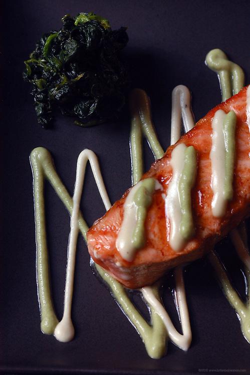 Maido: Wasabi Salmon with sauteed spinach.
