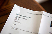 A prisoner visiting order (VO) received by a family member. HMP/YOI Portland, Dorset. A resettlement prison with a capacity for 530 prisoners. Dorset, United Kingdom.