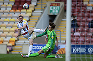 Scunthorpe United Ryan Loft (9) shoots at goal during the EFL Sky Bet League 2 match between Bradford City and Scunthorpe United at the Utilita Energy Stadium, Bradford, England on 1 May 2021.