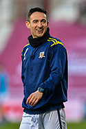 Kevin Cawley (#7) of Alloa Athletic FC during the warm up before the SPFL Championship match between Heart of Midlothian FC and Alloa Athletic FC at Tynecastle Park, Edinburgh, Scotland on 9 April 2021.