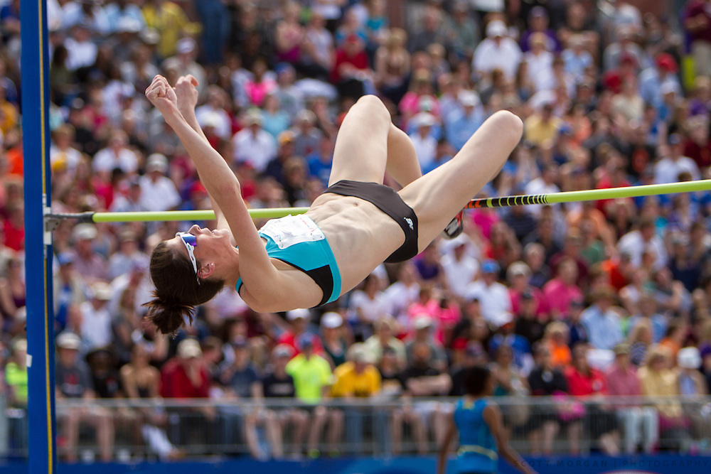 New Balance athlete Ruth Beitia clears 1.95 meters to win the high jump Saturday, April 27, 2013, during the Drake Relays in Des Moines..Photo by Scott Morgan 2013