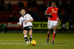 Luke Ayling of Bristol City is challenged by Uche Ikpeazu of Crewe Alexandra - Photo mandatory by-line: Rogan Thomson/JMP - 07966 386802 - 20/12/2014 - SPORT - FOOTBALL - Crewe, England - Alexandra Stadium - Crewe Alexandra v Bristol City - Sky Bet League 1.