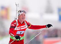 Skiskyting<br /> Hochfilzen Østerrike<br /> 11.12.2011<br /> Foto: imago/Digitalsport<br /> NORWAY ONLY<br /> <br /> Weltcup der Herren. <br /> <br /> Tarjei BØ (NOR) jubelt und streckt die Zunge heraus auf der Ziellinie. 4x7,5km Staffel der Männer Winterspor