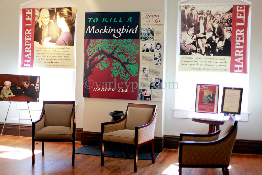 06 February 2015. Monroeville, Alabama.<br /> On the trail of Harper Lee's 'To Kill a Mocking Bird.'<br /> Inside the old courthouse whose courtroom was used as the model for the Hollywood movie. The building is now the Monroe County Museum at the center of the old town. <br /> Photo; Charlie Varley/varleypix.com