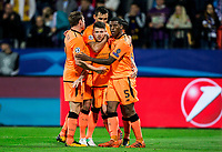 MARIBOR, SLOVENIA - OCTOBER 17: Alberto Moreno of Liverpool FC and other players of Liverpool celebrate after scoring fourth goal during UEFA Champions League 2017/18 group E match between NK Maribor and Liverpool FC at Stadium Ljudski vrt, on October 17, 2017 in Maribor, Slovenia. (Photo by Vid Ponikvar / Sportida)