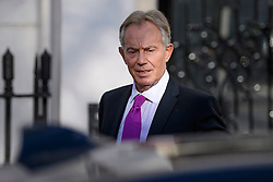 © Licensed to London News Pictures. 17/02/2017. London, UK. Former British Prime Minister Tony Blair seen leaving his office in central London on the day he called for Britons to 'rise up' against Brexit. Photo credit: Ben Cawthra/LNP