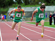 Marcus Lawler from Carlow beating Greg O Shea from Limerick in the Boys U16 100m  at the  HSE Community Games National Finals 2010 in the AIT in Athlone. Photo:Andrew Downes