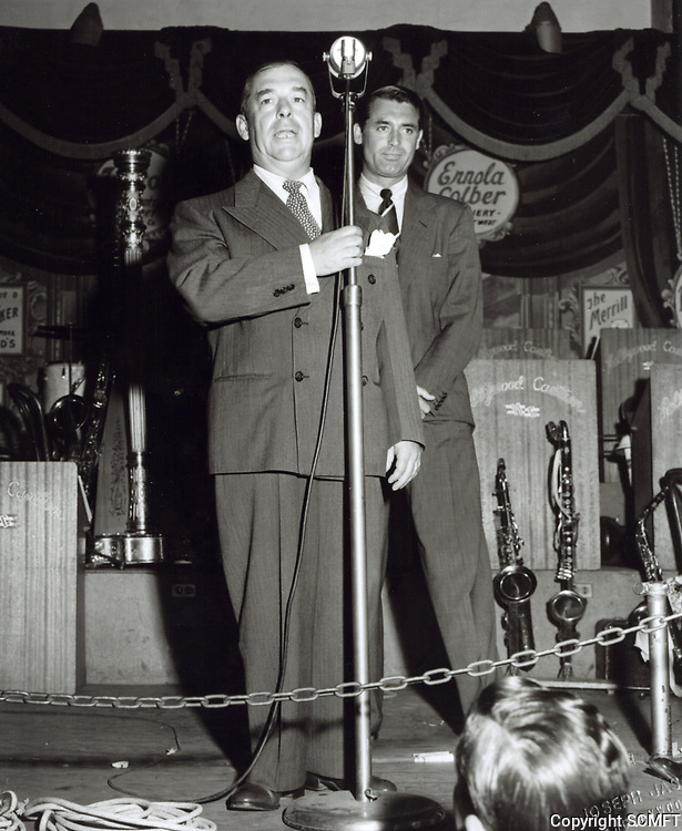 1944 Cary Grant being introduced at the Hollywood Canteen
