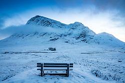 Winter snow  scene of Buachaille Etive Mor mountain near Glen Coe in Scotland, UK