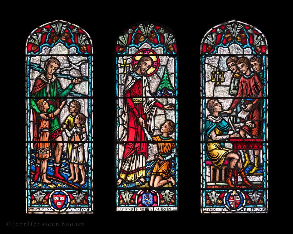 "Window 14 on plan. 55"" w x 48.5"" h. inc. wood frame.<br /> <br /> Saint Mary's by-the-Sea, Northeast Harbor, Maine."