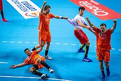 The Dutch handball player Samir Benghanem, Jorn Smits, Doruk Pehlivan, Kay Smits in action during the European Championship qualifying match against Turkey in the Topsport Center Almere.