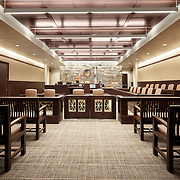 Interior photo of one of four courtrooms in Lassen County Superior Court House. Photographed for Lionakis, Clark & Sullivan, and Glumac. Susanville, CA.