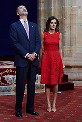 Queen Letizia of Spain, King Felipe of Spain attended an audience with Princesa de Asturias Awards 2018 winners at the Reconquista Hotel on October 19, 2018 in Oviedo, Spain. 19 Oct 2018 Pictured: Queen Letizia of Spain, King Felipe of Spain. Photo credit: MEGA TheMegaAgency.com +1 888 505 6342
