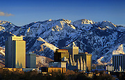 Image of the skyline of Salt Lake City with Wasatch mountains, Utah, American Southwest by Randy Wells