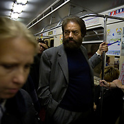 French novelist-philosopher Marek Halter inside the Moscow metro..He was born in Poland in 1936. During World War II, he and his parents escaped from the Warsaw Ghetto and fled to the Soviet Union, spending the remainder of the war in Russia and later in Kokand, Uzbekistan. In 1946 he was chosen to travel to Moscow to present flowers to Stalin...In 1948 the family returned to Poland and later, in 1950, they emigrated to France and took up residence in Paris. Halter studied pantomime under Marcel Marceau and for a time earned a living as a painter; his work was featured in several international exhibitions...Halter began writing in the 1970s. His works include The Madman and the Kings (awarded the Prix Aujourdíhui in 1976), The Messiah, The Mysteries of Jerusalem, The Book of Abraham (1986) and its sequel, The Children of Abraham (1990), The Wind of the Khazars (2003), Sarah (2004), Zipporah (2005), and Lilah (2006). In addition to his novels he is the author of The Jester And the Kings: a Political Biography (1989) and Stories of Deliverance: Speaking with Men And Women Who Rescued Jews from the Holocaust (1998)...In 1991 Halter and Andrei Sakharov organized French College in Moscow. As of now (2007) he remains the president of the college.