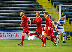 Brora Rangers Dale Gillespie cele scoring their penalty. half time : Morton 1 v 1 Brora Rangers, 3rd Round of the Scottish Cup played 23/11/2019 at Cappielow, Greenock.