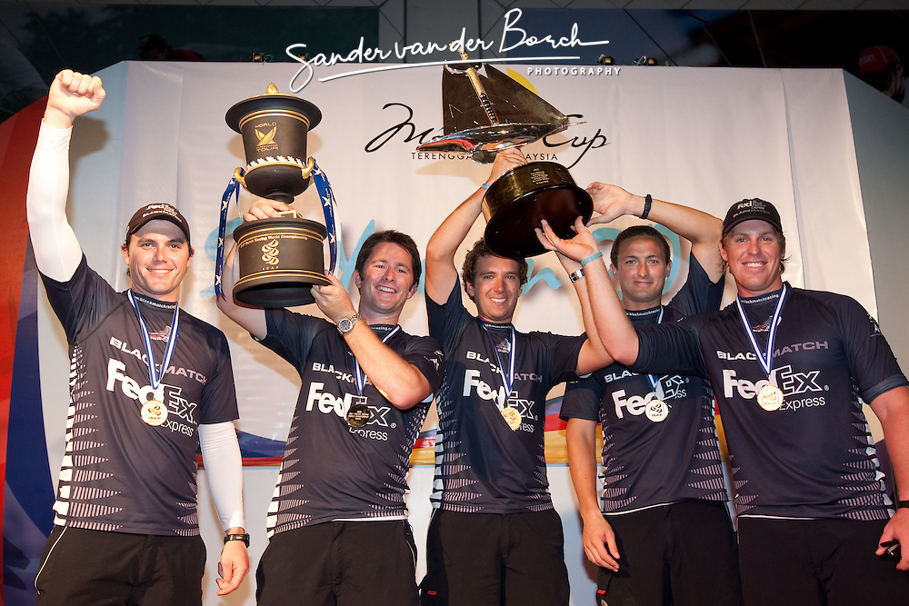 Adam Minoprio (NZL) and ETNZ/Black Match Racing wins the Monsoon Cup 2009. From left to right Tom Powrie (NZL), Adam Minoprio (NZL), Nick Blackmann (NZL), Daniel McLean (NZL) and David Swete (NZL). Kuala Terengganu, Malaysia. 6 December 2009. Photo: Sander van der Borch / Subzero Images