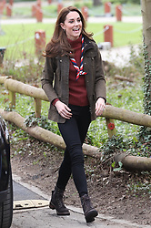 March 28, 2019 - Epping, United Kingdom - Image licensed to i-Images Picture Agency. 28/03/2019. Gilwell Park , United Kingdom. The Duchess of Cambridge arriving at the Scout Headquarters at Gilwell Park in Essex, United Kingdom.  During the visit the Duchess learnt about the organisation's new pilot scheme  to bring Scouting to younger children and also to celebrate the site's 100th anniversary year. (Credit Image: © Stephen Lock/i-Images via ZUMA Press)